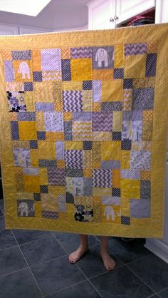 yellow and grey quilts for babies | Gray and Yellow baby quilt front