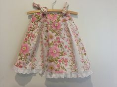 Upcycled size 1 sundress pink and white tie by BananaOrangeApple, $25.00