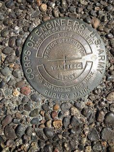 Survey marker east of Portland at Cascade Locks. From 1964.