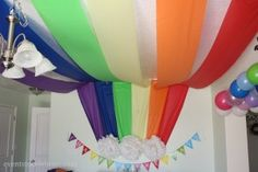 Rainbow ceiling/wall treatment made from plastic table covers
