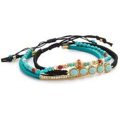 Tai Beaded Trio Bracelet ($135) ❤ liked on Polyvore featuring jewelry, bracelets, turquoise, 18 karat gold bracelet, beaded bangles, macrame bracelet, bead bracelet and 18k bangle