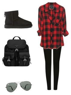 Untitled #16 by xilasia on Polyvore featuring polyvore, fashion, style, UGG Australia, Prada and Ray-Ban
