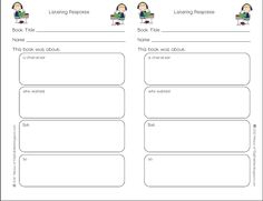 Free Listening Response Sheet from www. and post about Daily 5 chapter Listening and Read to Someone 6th Grade Writing, 6th Grade Reading, Kindergarten Reading, Teaching Reading, Teaching Ideas, Reading School, Listen To Reading, Reading Help, Reading Skills