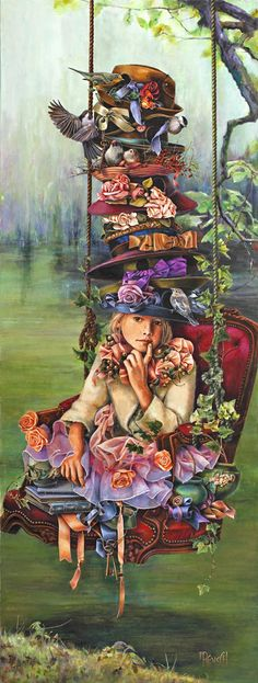 Garden Hotel By Artist-Lori Preusch. Whimsical, visionary, fanciful and imaginative artwork. Features children, fairies and wildlife. Pinned from her website.