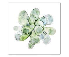 Impression sur toile WATERCOLOR II, vert et blanc - 40*40