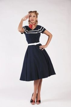 I want this dress. I want it so badly! Vintage, are art thou so expensive?    Bettie Page Clothing - 50s Captain Blue Flare dress