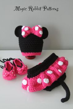 Crochet Minnie Mouse Hat, Diaper cover with Skirt and Shoes - PDF Pattern on Wanelo