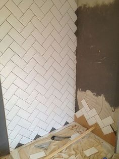 heringbone pattern, subway tiles Pantazis Howard Pantazis Howard Conde More - Herringbone Subway Tile, Herringbone Pattern, White Subway Tiles, Downstairs Toilet, Shower Enclosure, Upstairs Bathrooms, Bathroom Interior Design, Bathroom Inspiration, Decoration