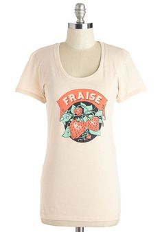 Fruit the Breeze Tee in Fraise. Enjoy a reunion with friends in the cotton comfort of this printed tee - available for purchase in April. #pink #modcloth