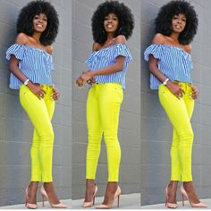 Striped Off Shoulder + Neon Skinny Jeans Fitted Denim Shirt, Tea Length Skirt, Style Pantry, Weekend Wear, Girl Blog, Work Fashion, Fashion Pictures, Black Girls, African Fashion