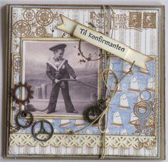 Angella - til en konfirmant Stamps, Cards, Scrapbooking, Painting, Design, Men, Hobbies, Seals, Painting Art