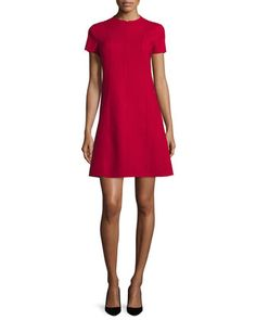 Apalia+Short-Sleeve+Zip-Front+Dress,+Dark+Vermillion+by+Theory+at+Neiman+Marcus.