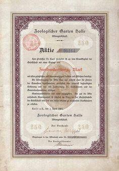 Zoologischer Garten Halle AG, Gründeraktie 250 mark 1.1.1901