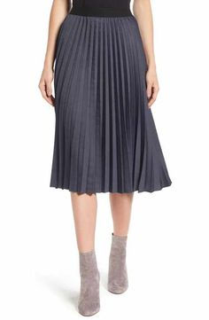 Halogen® Pleat Midi Skirt (Regular & Petite)