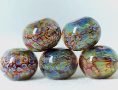 Lampwork boro glass beads 5 borosilicate glass by Juliyamrboro, $15.00