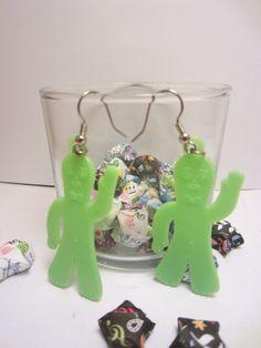 Vintage gumby charm earrings by SenseiLizzys on Etsy, $3.95 gumbi charm, charm earring