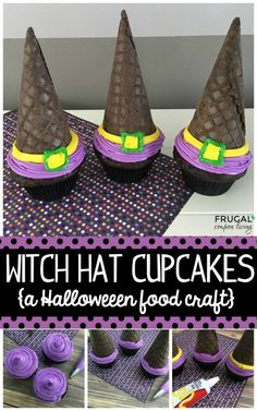 Witch Hat Cupcakes for Halloween. Simplistic Decorative Themed Desserts for your Next Gathering. Cupcakes for all Seasons.Easy Witch Hat Cupcakes for Halloween. Simplistic Decorative Themed Desserts for your Next Gathering. Cupcakes for all Seasons. Halloween Food Crafts, Halloween Snacks For Kids, Halloween Witch Hat, Halloween Cupcakes, Holidays Halloween, Halloween Fun, Vintage Halloween, Witch Hats, Halloween Birthday
