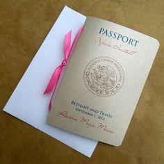Passport Wedding Invitation @Tia Lappe Tiara Hoffman Chavez @Thomas Marban Marban Marban De Santis @Kara Morehouse Morehouse H Chavez @Danielle Lampert Lampert Lampert Sadatmand . Love the side ribbon
