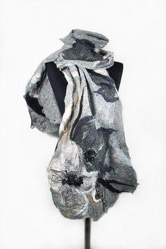 Felted Scarf Grey Scarf Nunofelt Wrap Artistic Shawl Nuno felt Scarves Felt gray fog Nuno felt wearable art Silk  Fiber Art on Etsy, $119.00
