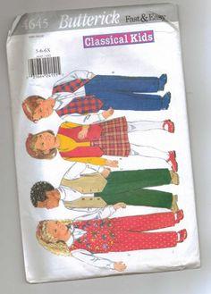 Butterick 4645 Classical Kids Vest, Skirt, Pants Sewing Pattern 5-6-6x   jjandedt - Patterns on ArtFire