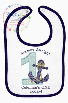 A cute personalized birthday Anchor's Aweigh Birthday bib that would be great for that first cake smash! First Birthday Themes, Baby 1st Birthday, First Birthdays, Birthday Ideas, Clothing Ideas, Kids Clothing, Anchor Birthday, Baby Cake Smash, Baby Boy Pictures