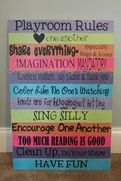 Playroom Rules Wood Sign by ImpressionsbyBritt on Etsy - Kinder Ideen Playroom Rules, Playroom Decor, Kids Decor, Playroom Ideas, Kids Playroom Colors, Playhouse Decor, Garage Playroom, Children Playroom, Playroom Organization