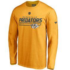 62d3cede4e22 Men's Nashville Predators AP Prime Long Sleeve T-Shirt (Gold/Navy)