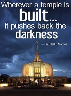 """Whenever a temple http://facebook.com/163927770338391 is built…it pushes back the darkness."" –Sister Neill F. Marriott (quoting George Q. Cannon, from her Sept. 2014 http://facebook.com/223271487682878 message http://lds.org/general-conference/2014/10/sharing-your-light during the General Women's Meeting) #LDSconf #LDStemple #Mormontemple #HouseoftheLord #HolinesstotheLord #LightofGod #Christian #Discipleship #ShareGoodness"