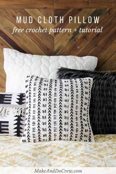 This free crochet pillow pattern uses a mud cloth inspired design to make a modern piece of couch flair! Excellent pattern for beginners! Made with Lion Brand Kitchen Cotton on Make and Do Crew by Jess Crochet Afghans, Crochet Pillow Patterns Free, Modern Crochet Patterns, Crochet Cushions, Free Pattern, Knitted Pillows, Sewing Pillows, Afghan Patterns, Cotton Crochet Patterns