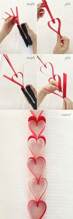 Paper Heart Garland for Valentines Day