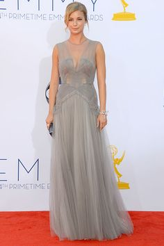 Revenge star Emily VanCamp looked sophisticated in a gray J. Mendel gown.