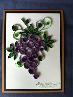 Tarjeta de uvas enclavijada por Bermarc en Etsy