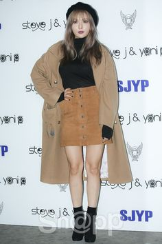 4minute hyuna sjyp suede skirt at 16 s/s seoul fashion week