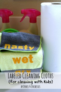 Labeled, washable cleaning cloths for household chores #WalgreensOlogy #shop