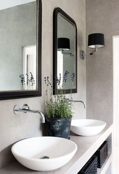 A little inspiration on the bathroom vanity front, with five very different styles. Love the elegance of the first, all subdued tones with sleek brass accents .. next a rustic concrete floating vanity
