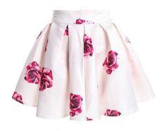 White Skirts for Women Printed Rose Teens Girls
