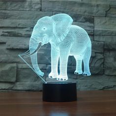 Action & Toy Figures Faithful Elephant Animal Figure 3d Illusion Led Lamp Colorful Change Desk Nightlight Flash Lighting Model Toys For Children