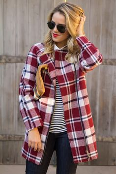 Plaid Coat With Skinny Jeans and Stripes