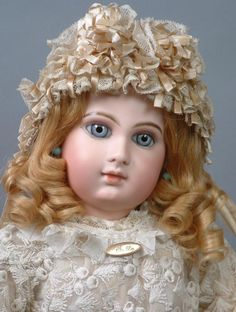 "Rare & Desirable 24"" Early Jumeau Bebe Size 10 with Captivating Face! from kathylibratysantiques on Ruby Lane"