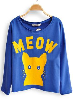 Royal Blue Long Sleeve MEOW Cat Print Scoop Neck T-shirt - Sheinside.com....MEOWWWW..its puuuurfect <3