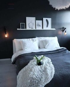 Minimal Bedroom With A Black Accent Wall And Ledge With Artworks Minimal Bedroom With A Black Accent Wall And Ledge With Artworks Minimal Bedroom, Modern Bedroom, White Bedrooms, Room Ideas Bedroom, Home Decor Bedroom, Black Accent Walls, Dream Rooms, Beautiful Bedrooms, New Room