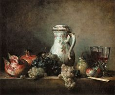 Exposition ArtGrapes and Pomegranates - Jean-baptiste-simÉon Chardin - still-life Painting Art