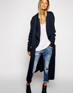 e384ee5d ASOS Longline Waterfall Cardigan in Brushed Knit - view similar shop items