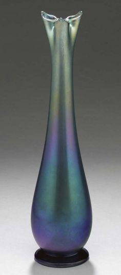 A BLUE FAVRILE GLASS VASE - TIFFANY STUDIOS, CIRCA 1912.
