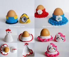 4 Crochet egg cozy PDF pattern , Crochet egg holder PDF pattern ,Crochet minion egg cozy ,Crochet hen egg cozy ,Crochet hello kitty egg cozy by ZiccaHandmadeCrochet on Etsy