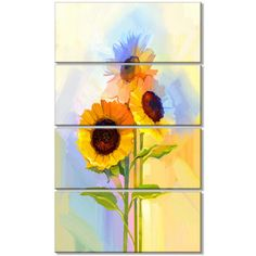 DesignArt 'Yellow Sunflowers with Green Leaves' 4 Piece Painting Print on Wrapped Canvas Set