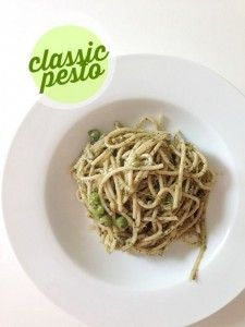 Are you staring at a bunch of basil and aren't sure what to do with it? Make some pesto! It's easy and it brings a bright and fresh flavor to pasta, chicken, veggies, or whatever else you'd like to put it on.  Here's an easy, frugal recipe!