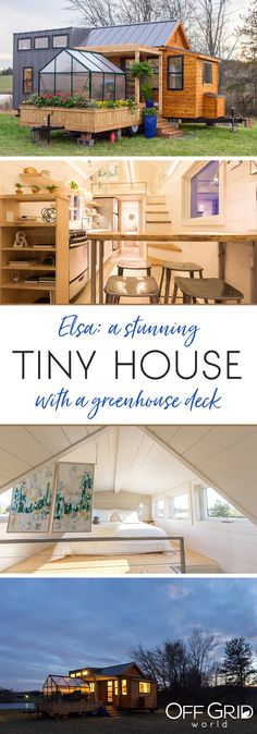 This beautiful tiny house has a greenhouse and pergola