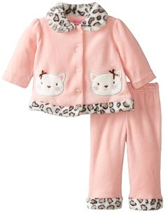 Young Hearts Baby-Girls Newborn 2 Piece Kitty Jacket and Pant Set, Ripe Guava, 6-9 Months. 4 buttons. Elastic all around legging.