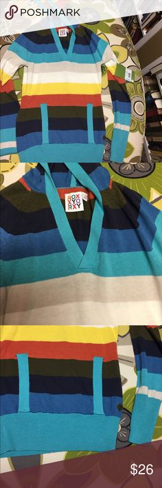 NWT Roxy striped hooded sweater Size Small Multi color striped hooded sweater with front pocket. V-neck. Tapered cuffs. Comfy and cute Roxy Sweaters